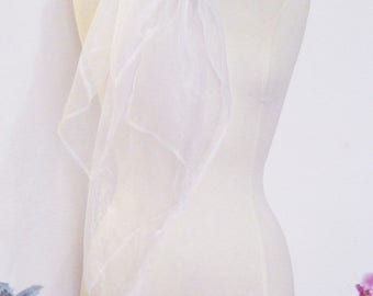 Wedding party evening shawl stole chic organza transparent shiny iridescent translucent white