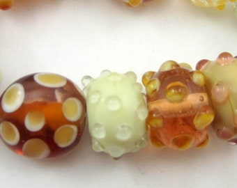 12 Tan Lampwork bead set handmade glass beads brown bracelet strand jewelry supplies bumpie lampwork glass beads SR5(SB2)