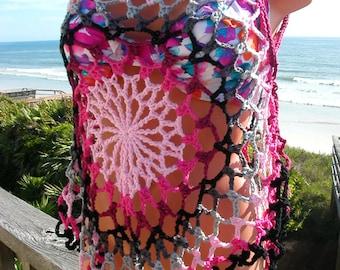 Crochet Pinks, Black & Gray Mandala Top, Beach Cover, Tank Top, medium