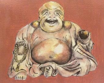 Original painting, Laughing Buddha
