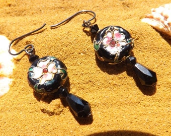 Black cloisonné earrings with black glass beads on niobium wires.