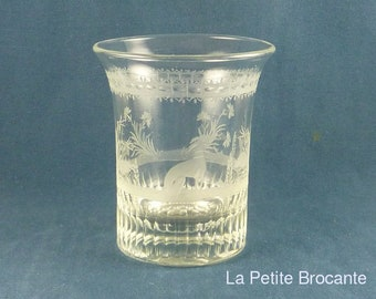 Early 19th etched Crystal Goblet