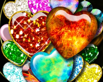Colorful Sparkly Jewel Hearts - Set of 3 Digital Collage Sheets - Tiles 1.85x1.85 inch - 47x47mm - Instant Download - See Promo Offer
