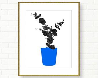 Botanical Art Print, Poster, Black And White,Cobalt Blue, PRINTABLE, INSTANT DOWNLOAD, Leaves, Wall Decor, Botanical, Modern Art, Colorblock