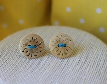 Wooden Flourish Cut-Out Stud Earrings