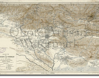 Reproduction of a Vintage Map of Tehran (Iran) from 1900 - Fantastic Photo Poster Print - Old Archive Cartography
