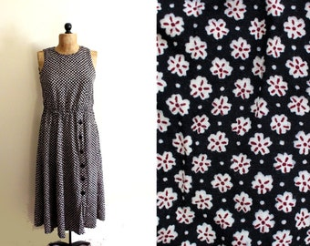 vintage dress 90's black floral print maxi 1990s womens clothing grunge size large l
