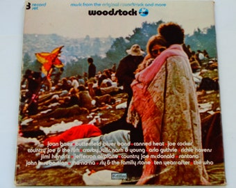 Woodstock - Original Soundtrack Schallplatte - Cotillion 1970 - Richie Havens - and - Jimi Hendrix - Santana - Jahrgang Tri-fach 3LP Vinyl Album