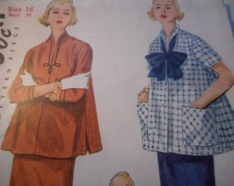 Vintage 1950's Simplicity 4444 MATERNITY Two-Piece Dress Sewing Pattern Size 16 Bust 34
