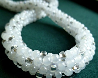 """White and silver necklace  Kumihimo beaded braid necklace with toggle clasp """"Winter Sparkle"""""""