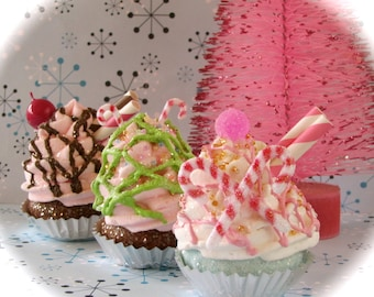 """Fake Cupcakes """"Hansel and Gretel Cupcake Collection"""" Christmas Ornaments Set of 3 Mini Cupcakes Magnets/ Standard Size Available For Fee"""