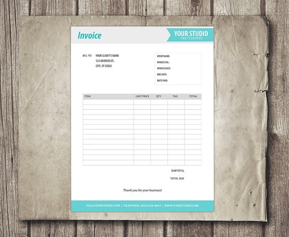 Invoice Template Form PSD Branded Invoice Sheet Template For - Etsy invoice template