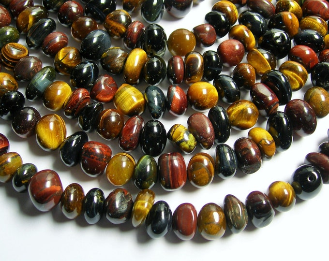 Tiger eye multi color  nugget beads -  1 full strand - mix tiger eyes - 10mm - 48 beads - PSC167