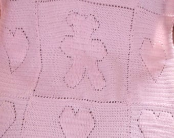 teddy bear and hearts crochet afghan