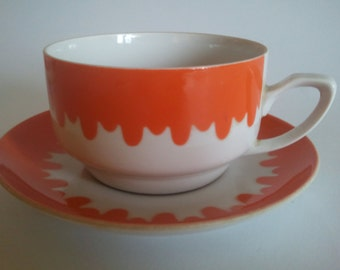 Vintage Soviet Orange Coffee Tea Set of Four Porcelain Tableware Drink ware