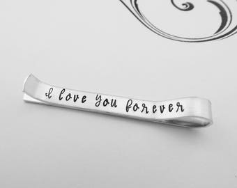 I love you forever - Hidden Message Hand Stamped Tie Bar - Gift for Groom - Gift for Him - Anniversary Gift - Valentines Day