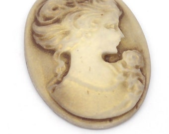 Coffee Resin Lady Pattern Oval Cameo Embellishment Findings - Pack of 4