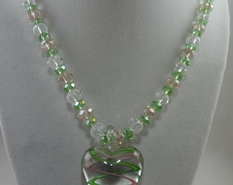 Single Strand Pink/Green Crystals with Lamp-worked Heart
