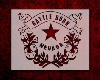 "Nevada Battle Born State Flag 11"" x 8.5"" Custom Stencil FAST FREE SHIPPING (4)"
