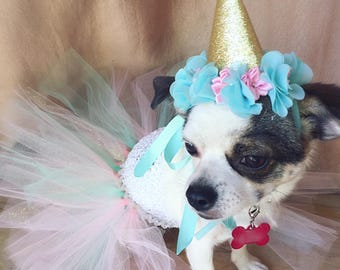 birthday dog outfit, cat birthday, mint and pink dog dress, dog birthday outfit, birthday dog hat, pet birthday