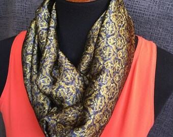 Navy Scarf, Patterned Infinity Scarf, Evergreen Scarf, Infinity Scarves, Fashion Scarf, Dressy Scarf, Unique Scarf, Silky Scarf, Paisley