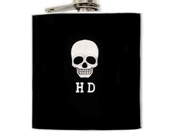 Skull Head Hip Flask Inlaid in Hand Painted Black Enamel Neo Victorian Gothic Inspired Custom Colors and Personalized Options
