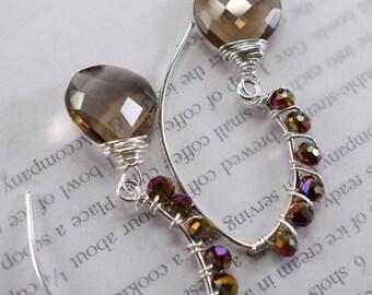 earrings, smoky quartz earrings, brown earrings, bohemian earrings, christmas for her, French hooks earrings, Cyber Monday sale, for her