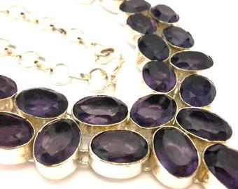 Purple Amethyst Quartz Facet Stone Charming Silver 925 Vintage Necklace