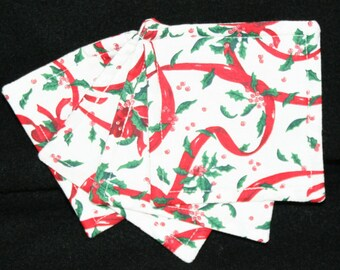 Coasters, cloth, Christmas, red ribbons, square shape