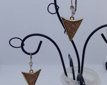 Earrings hypoallergenic shiny silver and gold triangles