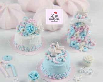 Dollhouse Miniature Christmas Cake - Light Blue Cream Cake with Pastel Peppermint Candies in 1/12 dollhouse miniature scale.