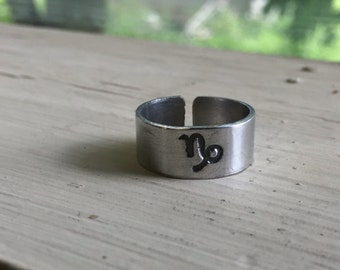 Capricorn Ring - Horoscope Ring - Zodiac Jewelry - Zodiac Ring - Astrology - Adjustable Stamped Ring