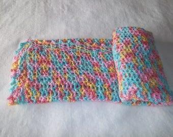 Multi-colored baby crochet afghan. Baby shower gift. Baby girl gift.