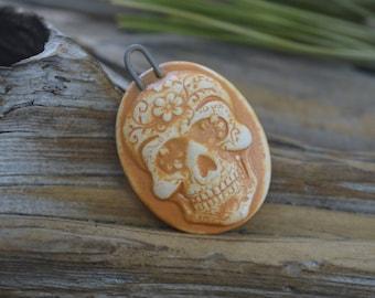 Handmade Porcelain Sugar Skull Cameo Pendant