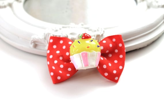 Hair Clip accessory cupcake muffin bow kawaii