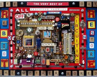 Recycled Computer Art, Mixed Media, Assemblage Computer Mother Board, Reboot, Restore, Colorful, Unique, intricate