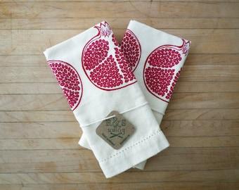 Pomegranate Tea Towel Set, Fruit Kitchen Towel, Silk Screen Printed Towel, Hostess, Gourmet Gift, Deep Jewels, Folk Art Style, Holiday Decor