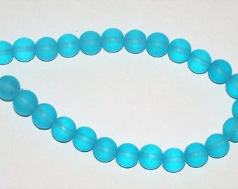 """Cultured  Turquoise Bay """"Sea Glass"""" Rounds - 8MM"""