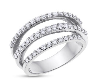1.25 Carat Natural Diamond Crisscross Crossover Ring In Solid 14k White Gold