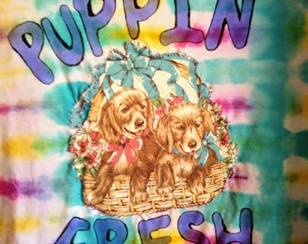 puppin fresh shirt - vintage puppy patch on tie-dye
