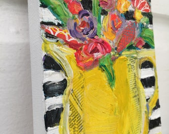 Yellow Pitcher Bouquet original still life painting by Polly Jones
