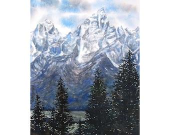 Watercolor ORIGINAL - From Shadow Mountain - Grand Tetons, Teton National Park, Jackson Hole, Wyoming, mountains