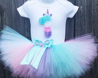 Unicorn Birthday Tutu Outfit with Matching Flower Headband   First Birthday Rainbow Outfit    1st Birthday   Customize Your Colors