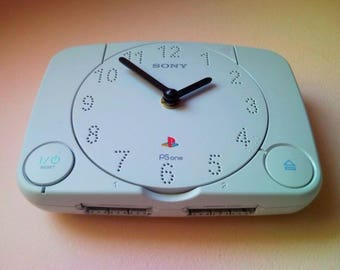 PlayStation 1 PS1 console PlayStation1 slim retro recycled video game console wall clock and table desk clock not only for men or gamer fan