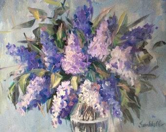 "Lilacs  Lilacs Painting Original  Floral  Lilacs Painting 16 x 20"""