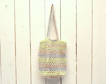 Crochet Tote Bag 25% OFF Market Tote Shopping Bag Double Strap Open Weave Rainbow Striped Bag