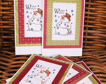 Snowman Christmas Cards Set - Handmade cards, Handmade  Holiday Cards Set with Snowman, Funny Christmas Snowman Cards