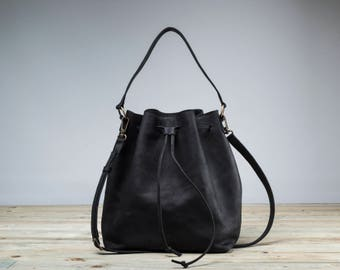 Black Bucket Bag, Bucket Bag, Leather Bucket, Black bag, Black crossbody bag