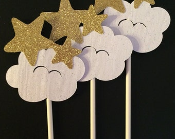 Cloud and Stars cupcake toppers,Gold Stars and cloud cupcake toppers,Heavenly cupcake toppers,Stars and cloud cupcake toppers,12CT