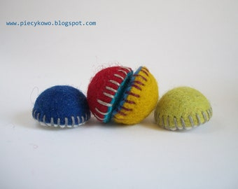 Felt Fridge Magnets - set of 4 Mustard Blue Green Red OOAK - Child Safe